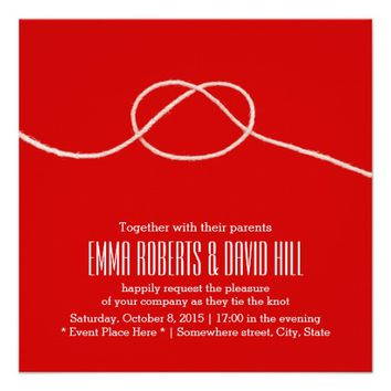 Simple Twine Knot Red Wedding Invitations