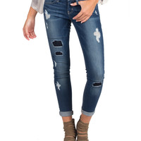 FLYING MONKEY - DAMAGED AND PATCHED DENIM JEANS