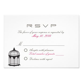 Simple Bird Cage Wedding R.S.V.P. Card