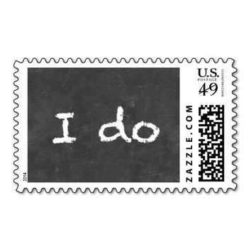 """I do"" Simple Chalkboard Wedding Stamps"