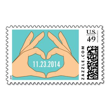 Simple Hand Heart Green Custom Wedding Stamps