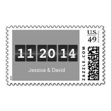 Simple Gray Airport Timetable Wedding Stamps