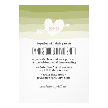 Classy Green Stripes Heart & Arrow Wedding