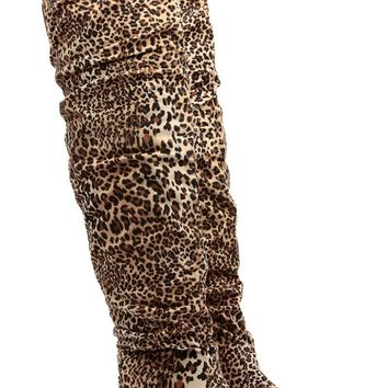 Over the Knee Faux Suede Leopard Print Boots
