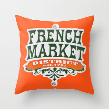 Signs French Market pillow home decor cushion fine art photography living room bedroom furnishing orange New Orleans Nola Quarter travel
