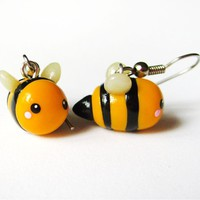 Yellow Bumblebee Dangle Earrings Cute