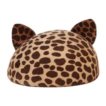 Eugenia Kim Caterina Cat-Ear Beret Cap, Leopard