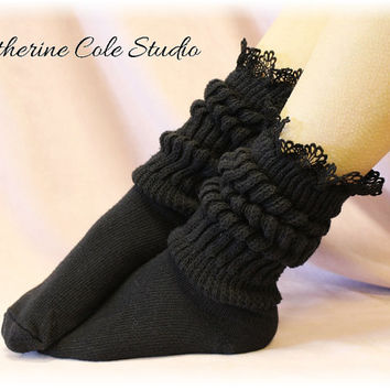 CUDDLE BUNNY in Black lace socks super thick slouch socks womens work out socks slouch boot socks ladies lacey  hosiery Catherine Cole SW1