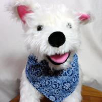 Dog Puppy Bandana Over the Collar Pet Navy Blue White Handmade Cotton Small Medium Double Layer