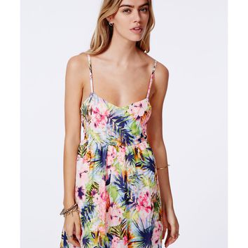 Missguided - Bowiena Lattice Detail Tropical Skater Dress