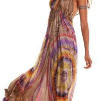 Alexis Tula long halter dress in sunset rainbow