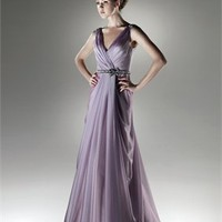 Off-the-shoulder a-line deep v-neck taffeta lilac long 2011 Love by Enzoani Prom Dresses EPD0072