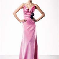 Straps deep v-neck pink satin sexy long 2010 Love by Enzoani Prom Dresses EPD0059