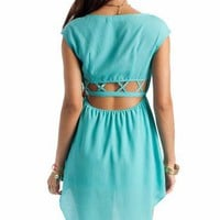 cage back high-low dress $32.80 in CORAL LEMON SEAFOAM - New Dresses | GoJane.com