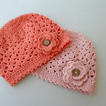 Baby girl hat, Twin girls hat, Twin hat. Organic cotton, crochet toddler hat set, pink, coral, eco friendly.