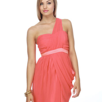 Heart Grow Fonder One Shoulder Coral Dress