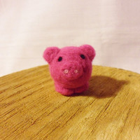 Needle Felted Pig   miniature bright pink pig by feltindevon
