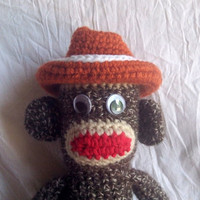 Crocheted Sock Monkey with UT Cowboy Hat by SockMonkeyMountain