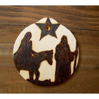 Wooden Ornament  Jesus Mary and Joseph by TreehouseIllustrator