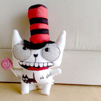 Zack the cat in the hat by zeropumpkin on Etsy
