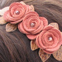 Leather floral headband with 3 pink roses and by leatherblossoms