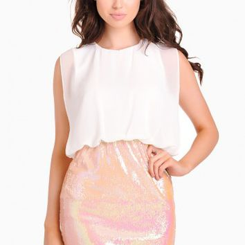 Martha 2 in 1 Sequin Skirt Dress in Peach