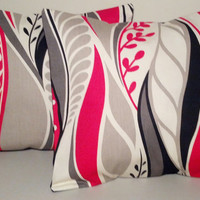 """2 Handmade Pillow Covers - Modern, Abstract Print - READY TO SHIP - 12"""" X 12"""""""