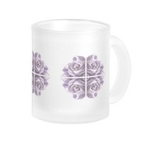 Lilac Rose Abstract Art Frosted Glass Mug