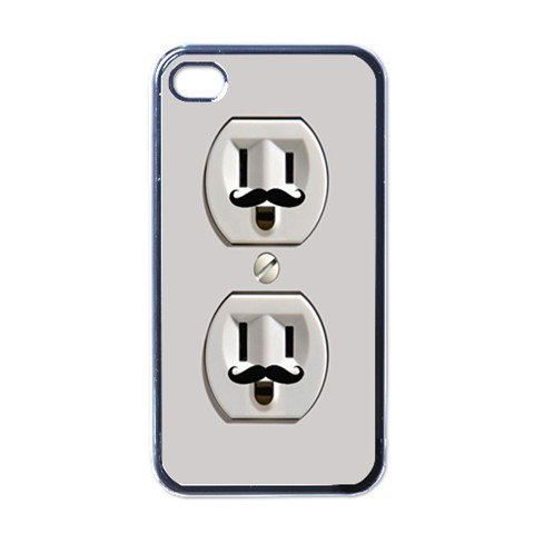 Smiley Mustache Power Outlet iphone 4 case by SephiaAndromeda