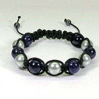 Macrame Bracelet with Purple Dragon Vein and Silver Pearls | HCLTreasures - Jewelry on ArtFire