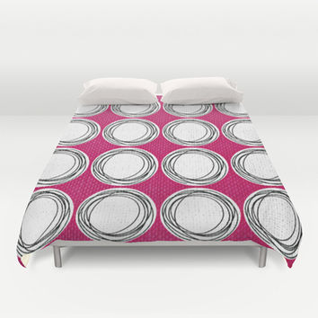 Circle Pattern Pink Duvet Cover by Claudia McBain