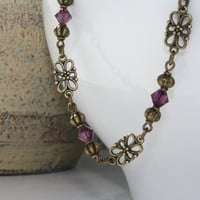 Metal Anklet, Amethyst Jewelry, Antique Brass Summer Anklet, Purple Beaded Anklet