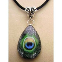 Teardrop Peacock Glass Tile Pendant, Necklace