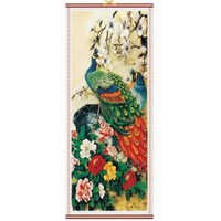 Peacock Rattan Scroll Picture Asian Art Home Decor