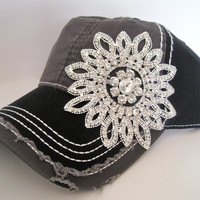 Two Tone  Black and Grey Trucker Baseball Cap Hat with Gorgeous All Rhinestone Flower Accent