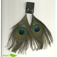 Natural Peacock Feather Fashion Earrings