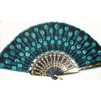 Peacock Pattern Sequin Fabric Hand Fan Decorative Blue Color