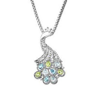 XPY Sterling Silver Licensed Swiss Blue and Light Blue Topaz, Peridot and Diamond Peacock Pendant (0.13 cttw, I-J Color, I3 Clarity), 18""