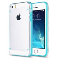 Pandamimi ULAK(TM) Ultra-Thin Clear Hard Case For Apple iPhone 5S 5 with Screen Protector and Stylus (Blue)