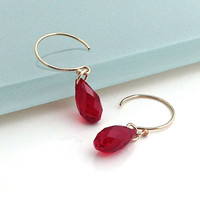 Red Crystal Earring, Crystal Drop, Pendant, Small, Gold Hoop, Minimalist, Modern, Simple, 56