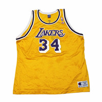 Vintage Champion Los Angeles Lakers #34 Shaquille O'Neal Jersey Mens Size 52 (XXL)