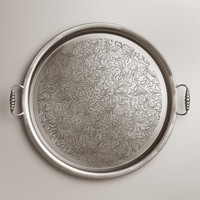 Large Round Iron Tea Tray - World Market