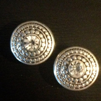 Small Round Vintage Silver gauges plugs earrings