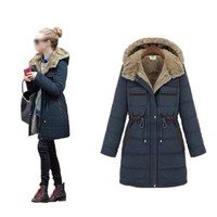 Zicac Women's Winter Warm Coat Hood Parka Overcoat Long Jacket (XXL:US10, Blue)