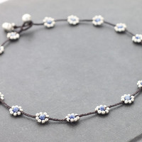 Daisy Sodalite Silver Necklace