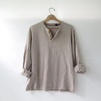 vintage slouchy henley. light brown shirt. henley pullover shirt. size L