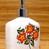 White Soap Dispenser With Hand Painted Red  Flowers