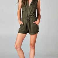CONTRAST GOLD STRUCTURED ROMPER - OLIVE | PUBLIK | Women's Clothing & Accessories