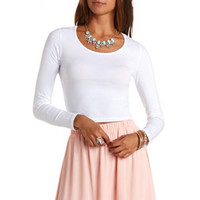 Scoop Neck Long Sleeve Crop Top by Charlotte Russe