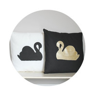 Pair of Two Swan Canvas Cushion Covers, handpainted pillow cover. Gold Black & White Decor,  Pillow Slip Cover